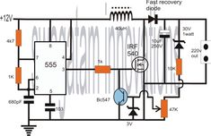 Simple 500W 12V to 220V Inverter Circuits Diagram