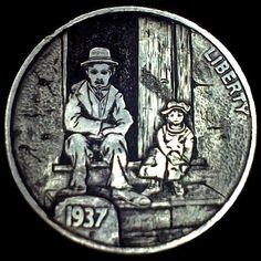 DIMAS SÁNCHEZ MORADIELLOS HOBO NICKEL - CHARLIE CHAPLIN AND THE KID - 1937 BUFFALO NICKEL Hobo Nickel, Coin Art, Old Coins, Coin Collecting, Silver Coins, Art Forms, Sculpture Art, Amazing Art, Charlie Chaplin