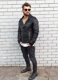 black daze  wearing Rayban sunnies, Boda Skins jacket, STANDARD jeans & vintage combat boots.