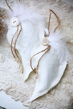 Handmade angel wing ornaments.