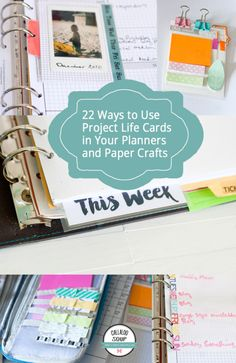 22 Ways to Use Project Life Cards in Your Planner & Paper Crafts - Callaloo Soup Crafts Agenda Planner, Life Planner, Happy Planner, Project Life Scrapbook, Project Life Cards, Paper Crafts Magazine, Paper Rosettes, Planner Organization, Scrapbook Organization