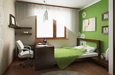 Детская комната. Мне нравятся угловые полки (правда получается, что угл должен быть идеально ровным) и как стол совмещен с кроватью.