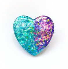 0995f044948 Mermaid Glitter Heart Pin Back Button in Blue and Purple