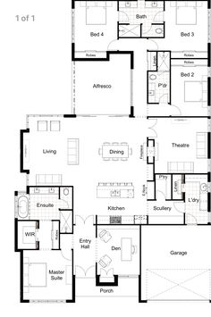 Everything but the den, I don't need a den Alles behalve de kuil, ik heb geen kuil nodig Modern House Floor Plans, Home Design Floor Plans, New House Plans, Dream House Plans, Home Building Design, Building Plans, Building A House, Home Inside Design, Inside House Designs