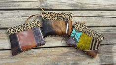 Funky leather cowhide wristlet Pouches