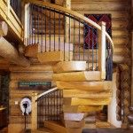 Edgewood CustomLog Homes - Free-standing Modern Spiral Staircase