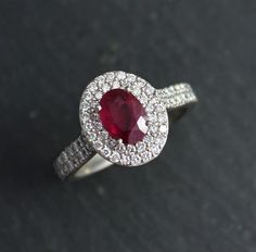 14k White Gold Halo Gemstone Ring Moissanite Details Custom