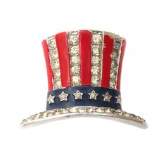 Uncle Sam's Hat with red & blue enameling and diamante accents.