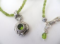 Peridot Gemstone Necklace With Bali Silver & Peridot by TuscanRoad