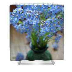 """Forget me nots in green vase Shower Curtain by Ren Kuljovska.  This shower curtain is made from 100% polyester fabric and includes 12 holes at the top of the curtain for simple hanging.  The total dimensions of the shower curtain are 71"""" wide x 74"""" tall. Combination of blue and green color.  #forgetmenot #symbolicflower #blueandgreen #fineartprint #canvasprint #flowerpower #flowerromance Unique Gifts For Men, Gifts For Girls, Photography Awards, Fine Art Photography, Basic Colors, Green Colors, Camera Art, Blue And Green, Green Vase"""