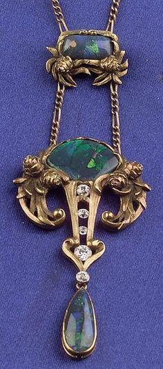 Arts & Crafts Black Opal Diamond Pendant Necklace, The Brassler Company