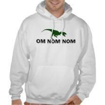 Om Nom Nom Dinosaur Rawr is Hungry humorous Hooded Pullover