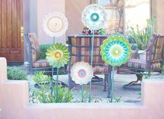 Garden Art Shabby Chic Glass Flower Decor Suncatcher Repurposed Art Garden Gift MONICA. $45.00, via Etsy.