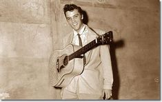 Elvis on August 5, 1955 at the Overton Park Shell in Memphis, TN.  - The Memphis Press Scimitar on August 6 reported that the Shell was jammed with an overflow audience for the show and that several hundred were turned away.  Local amateur photographer Robert Dye who photographed Elvis at the Shell on August 5th recalled one performer loaning him his guitar after Elvis couldn't find his in time to go on and was pretty agitated after Elvis returned it with two strings broken.