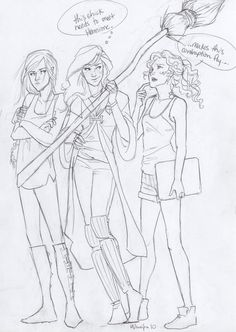 Katniss, Ginny and Annabeth. :) Ginny looks like how I imagine Lily from the books.