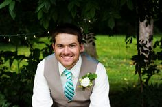 Handsome Groom wtih Mint Tie and White Boutonniere - Katie + Kenny's Wedding  {The Fillauer Lake House - Cleveland, TN} Photo By Caressa Rogers Photography
