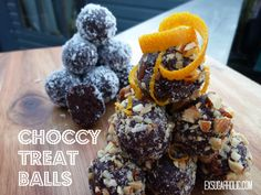 Delicious, soft chocolate mint and orange balls rolled in coconut and chopped nuts. (from my site www.exsugarholic.com)