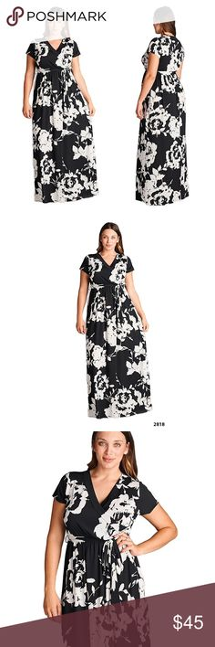Floral Black White Faux Wrap Maxi Dress S M L XL Floral Black White Faux Wrap Maxi Dress made of soft polyester material making it a perfect Summer flowy dress. Emerald Dresses Maxi