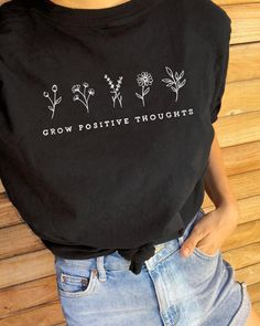 - off auto at checkout, black tee graphic printed black tshirt flowers prints tee black t shirt oversized casual summer top tees Broderie Anglaise Fabric, T-shirt Broderie, Black Tees, Black T Shirt, Black Tshirt Outfit, Embroidery On Clothes, Embroidery On Tshirt, Embroidered T Shirts, Diy Embroidery