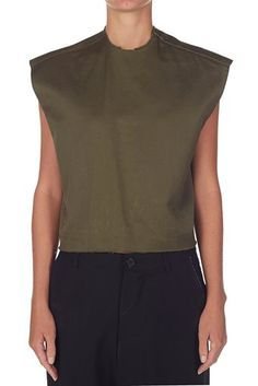 splittable cropped tank military   bassike