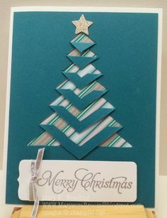 handmade card from Mary's Craft Room: Lace Folded Christmas Tree Christmas Card Crafts, Homemade Christmas Cards, Christmas Tree Cards, Xmas Cards, Homemade Cards, Handmade Christmas, Holiday Cards, Tarjetas Diy, Fancy Fold Cards