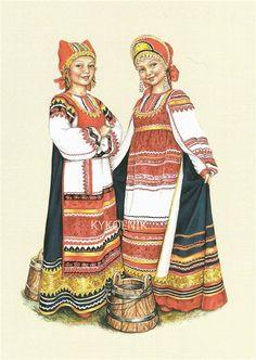 Traditional Russian costume of the Kaluga Province – Illustration by Lyudmila Romanova Russian Folk Art, Ukrainian Art, Russian Beauty, Russian Fashion, Russian Style, Theatre Costumes, Dance Costumes, Historical Costume, Historical Clothing