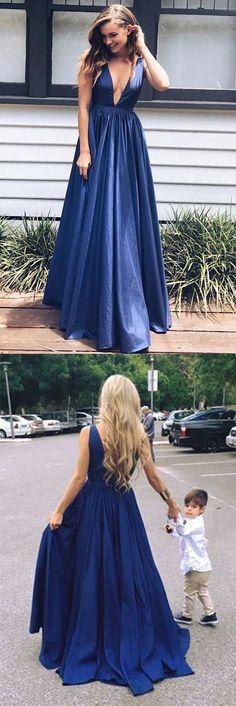 Sexy Taffeta A-line Floor-length V Neck Long Prom Dresses #aline #long #lowcut #satin #prom #okdresses