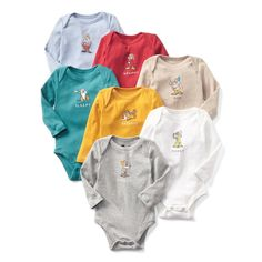 babyGap | Disney Baby Snow White and Seven Dwarfs bodysuit (7-pack). Baby can wear one of the seven dwarf characters on a bodysuit for each day of the week. Inspired by the classic story of Snow White and the Seven Dwarfs, this collection celebrates the joy in finding friends in unexpected places. Features soft cotton knit and snaps at inseam for easy dressing and diapering.