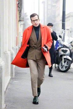 Men's Red Overcoat, Brown Double Breasted Blazer, Black Turtleneck, Beige Dress Pants