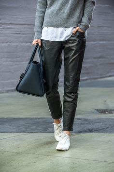 anine bing outfit loose leather pants