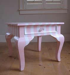 beautiful queen ann side table. love the stripes!
