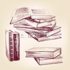 vintage, viejo, libros dibujados a mano conjunto