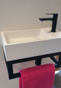 Djati teak bathroom furniture and solid surface - available from stock! - Djati Black Steel 03 toilet frame with solid surface fountain Height 26 cm Width 40 cm Depth 22 cm - Teak Bathroom, Bathroom Furniture, Small Bathroom, Remodled Bathrooms, Colorful Bathroom, Master Bathroom, Mini Bad, Small Space Interior Design, Small Toilet