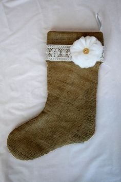 Vintage Lace & Burlap Christmas Stocking with a by SazeracStitches, $30.00