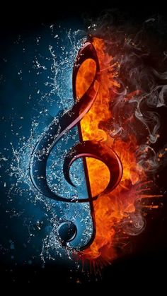 treble clef in fire and water. illustration of the treble clef enveloped in elements isolated on black background. high resolution treble clef in fire and water image for a musical concert poster. Musik Wallpaper, Galaxy Wallpaper, Wallpaper Desktop, Music Drawings, Music Artwork, Music Pictures, Fire And Ice, Music Mix, Music Is Life