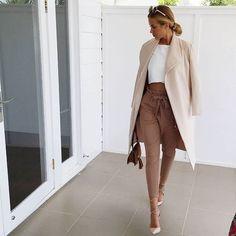 Neutrals   cream lapel   High waisted pants Shop Outfit -->…