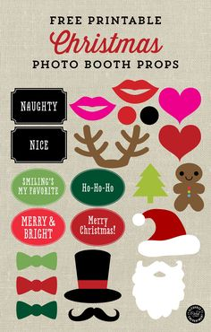 Christmas Photo Booth Signs and Props - Free Printable from Elegance & Enchantment