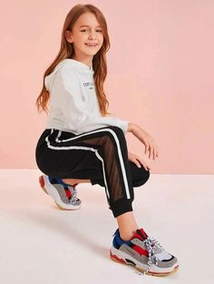To find out about the Girls Striped Side Mesh Insert Joggers at SHEIN, part of our latest Girls Pants & Leggings ready to shop online today! Girls Fall Outfits, Teenage Girl Outfits, Sporty Outfits, Cute Outfits For Kids, Cute Casual Outfits, Pretty Outfits, Preteen Girls Fashion, Girls Fashion Clothes, Teen Fashion Outfits