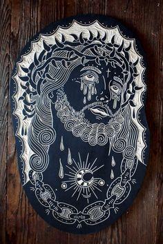 by Bryn Perrott 2013 Traditional Tattoo Jesus, Traditional Tattoo Flash, Tattoo Old School, Jesus Tattoo, Asian Tattoos, Linoprint, Flash Art, American Traditional, Art Inspo
