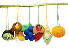 baby activity gym toys baby gym toys baby gift crochet veggies crochet fruits nursery decor hanging toys newborn play gym toys travel gift