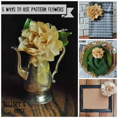 5 ways to rock a DIY flower made from old sewing patterns. www.huntandhost.com