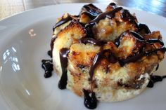 Peanut Butter Banana Bread Pudding with Chocolate Caramel Sauce