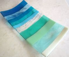 Fused Glass Platter, Ocean Beach Glass Serving Tray, Sea and Sky in Turquoise, Blue, Aqua, Mint Green, and French Vanilla, Sea Glass Plate