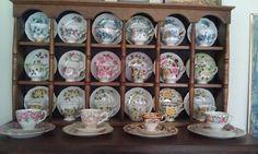 Part of my collection Tea Display, Display Shelves, Tea Cup Saucer, Tea Cups, Pop Up Shops, Flea Markets, Apartment Ideas, Pots, Antiques