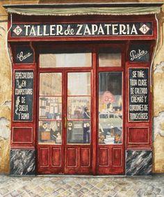 """Taller de zapatería"" Acrílico sobre tabla entelada Carlos Osorio. Pinté esta evocadora portada de un taller de zapatero de la calle Zurbano, 15, que ya ha desaparecido."