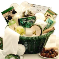 Soak and enjoy the soothing sounds of the Tranquility CD. Gently exfoliate your skin with bath loofah ball and glycerin soap for a healthy, natural clean. Invigorating bath salts promote better cleaning with the feeling of a mineral spring. Keep hair dry with soft terrycloth headband. Aromatherapy drawer sachets continually bring to mind the relaxing spa experience. Reusable green bath hamper holds bath essentials at your fingertips. This basket is a wonderful gift idea for any occasio...