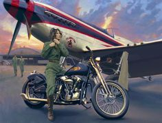 David Uhl's fine art often depicts women and motorcycles. Ruth Helm, the fifth member of David Uhl's Women of Harley collection, is a real-life WASP (Women's Airforce Service Pilots).