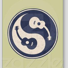 Yin-yang symbol with acoustic guitars, blue and tan, on sheets of adhesive stickers Music Tattoo Designs, Music Tattoos, Tatoos, Rib Tattoos, Foto Logo, Yin Yang Tattoos, Guitar Stickers, Music Drawings, Guitar Art