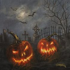 Painting - Halloween On Cemetery Hill by Tom Shropshire