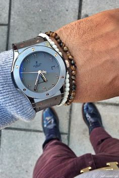 Hublot Watch with small bead bracelets, Tiger Eye and Howlite?